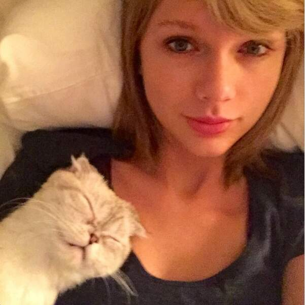 On adore Taylor Swift qui dort avec ses chats !