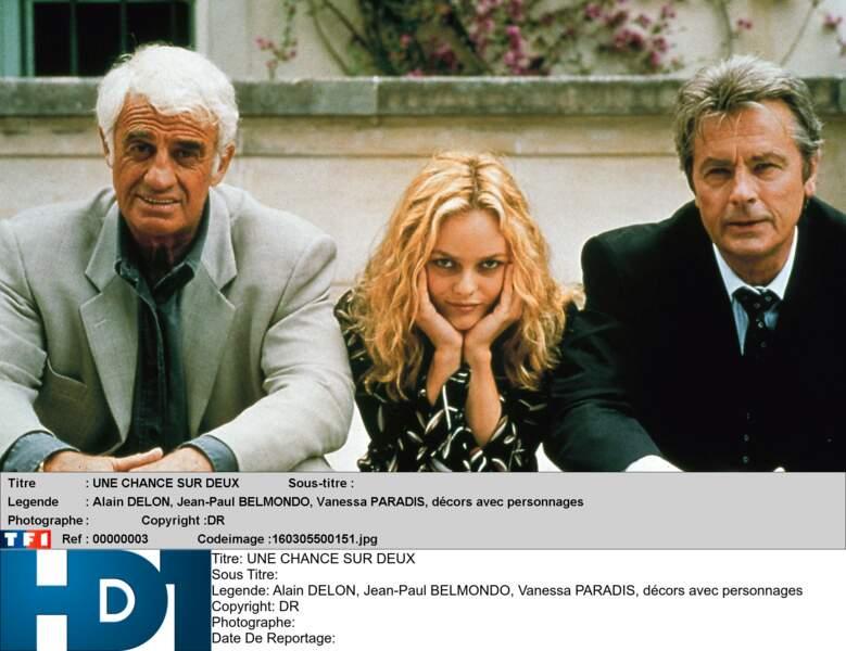 1998 : Patrice Leconte fait se retrouver Delon et Bébel dans 1 chance sur 2 aux côtés de Vanessa Paradis