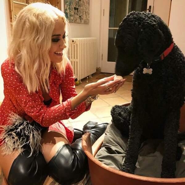 Rita Ora et un chien