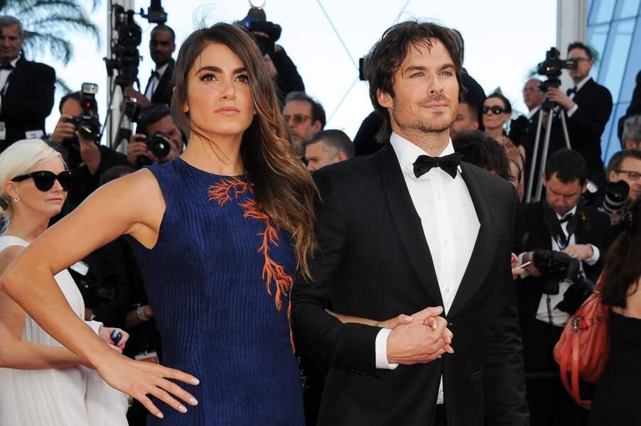 """Nikki Reed et Ian Somerhalder lors de la montée des marches pour """"Youth"""" au Festival de Cannes"""