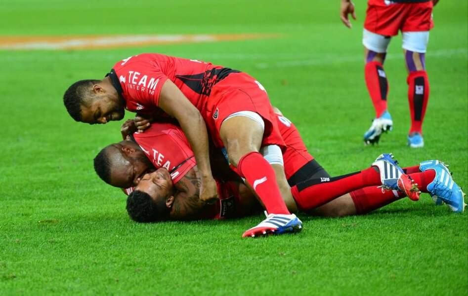 Encore des hommes heureux : les Toulonnais, qui ont battu le Racing Metro en 1/2 finale du Top 14 !