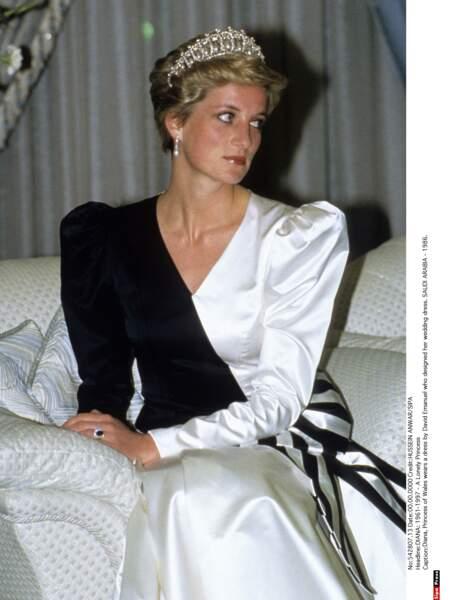 Dîner officiel à Riyad, Diana très sage porte la Cambridge Lover's Knot tiara