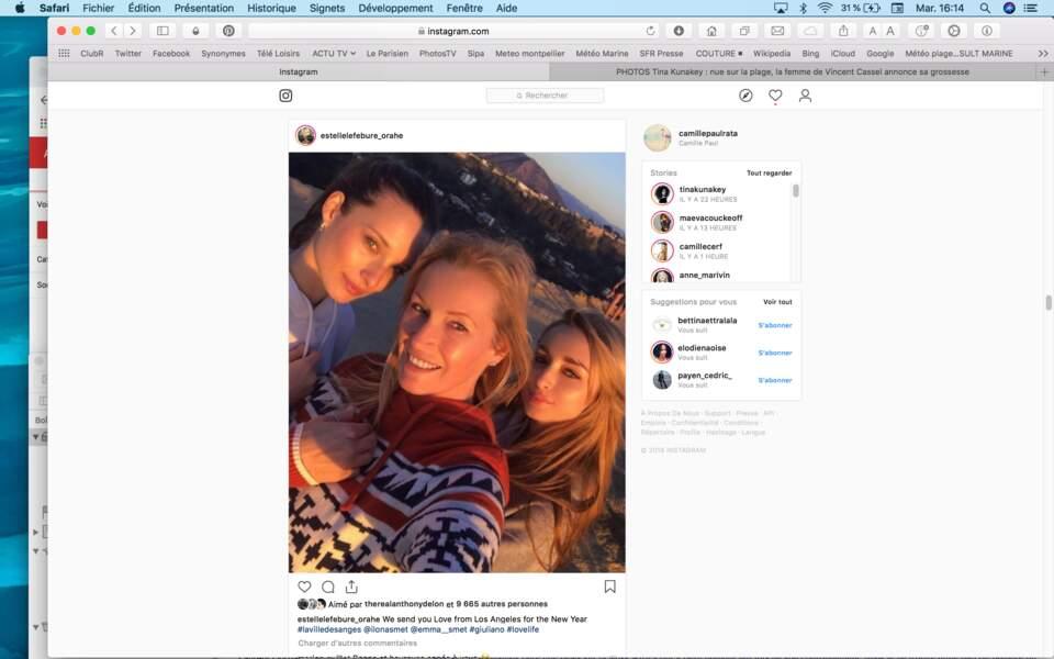 Estelle Lefébure a posté une adorable photo avec ses filles Emma et Ilona Smet depuis Los Angeles