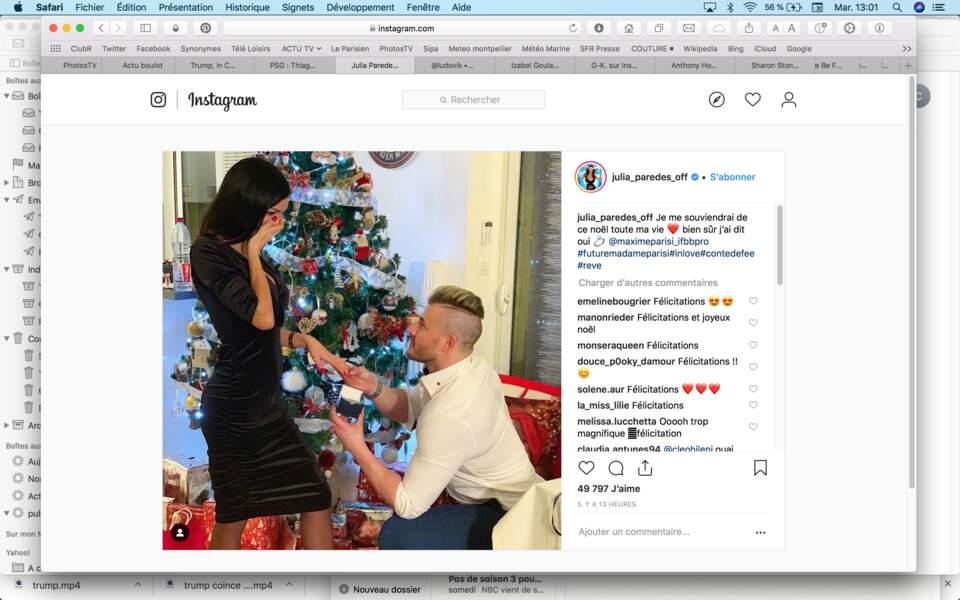 Le Noël le plus mémorable restera sans doute celui de Julia Paredes, demandée en mariage par Maxime Parisi