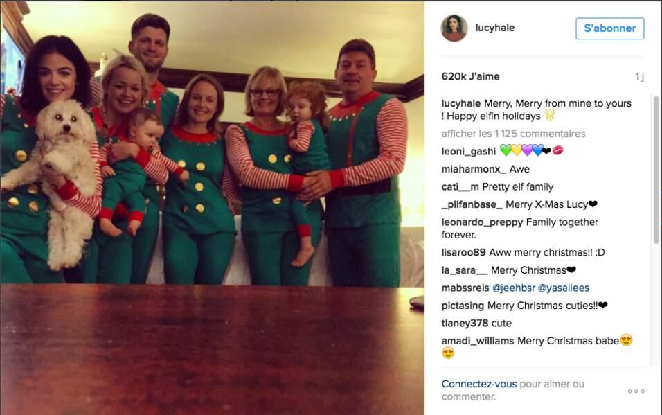 Toute la famille de Lucy Hale joue le jeu de Noël