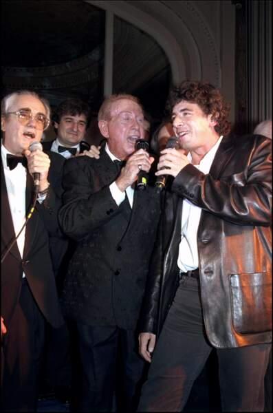 Charles Trénet, Patrick Bruel et Michel Legrand à Cannes en 1996 pour les 30 ans du festival du Midem