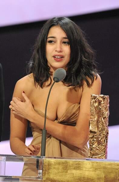 Emue en 2011 lorsqu'elle reçoit le César du meilleur espoir féminin pour Tout ce qui brille