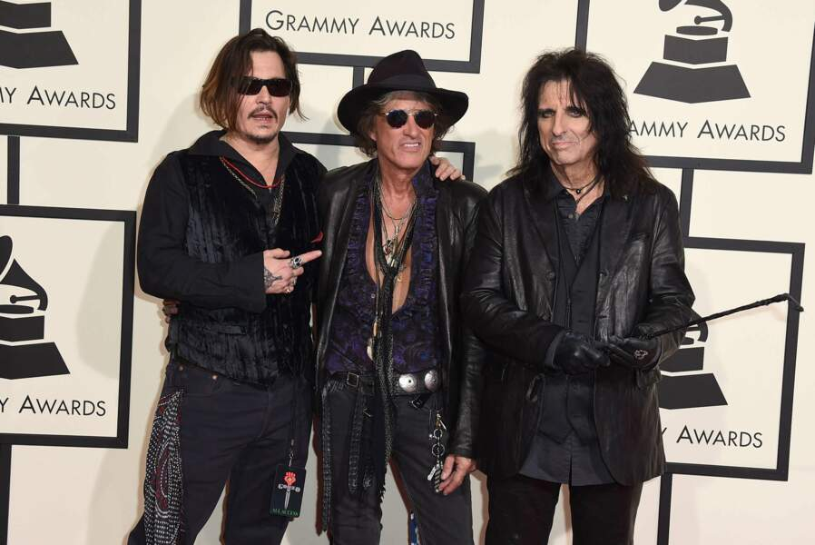 Johnny Depp, Joe Perry, et Alice Cooper de The Hollywood Vampires