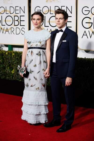 Keira Knightley, dont la grossesse a été confirmée, et son mari le rockeur James Righton (Klaxons)