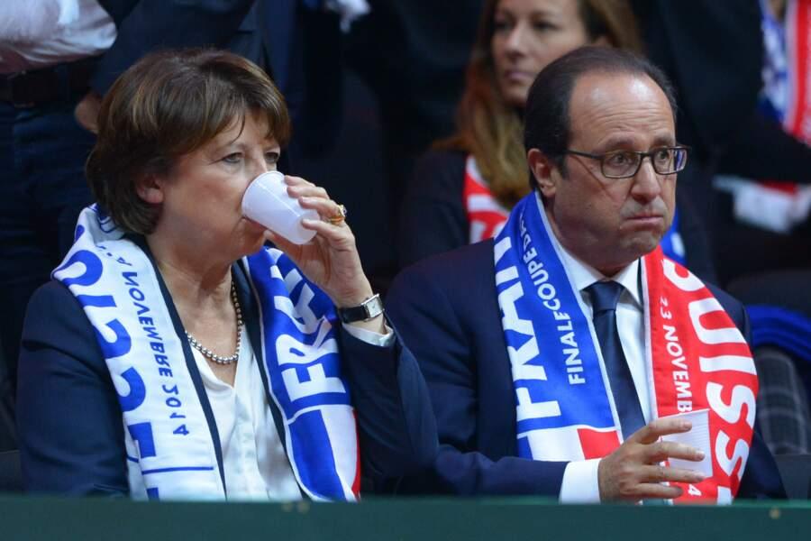 Novembre 2014 : Supporter de l'équipe de France de coupe Davis avec Martine Aubry, faut pas faire la moue !