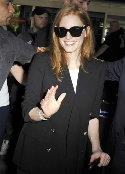 Jessica Chastain, membre du jury, était tout aussi ravie d'arriver sur la Croisette