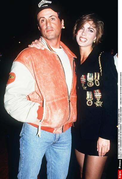 Avec Jennifer Flavin, sa troisième épouse, en 1991
