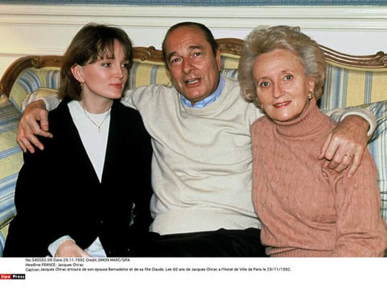 Jacques Chirac avec sa fille Claude et Bernadette Chirac à l'Hôtel de Ville en 1992.