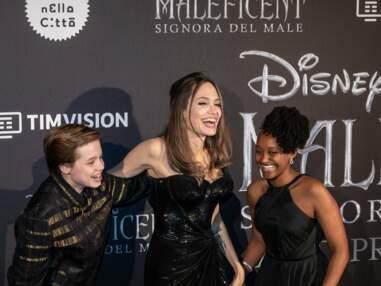 Angelina Jolie rayonnante avec Shiloh et Zahara à l'avant-première de Maléfique 2 à Rome