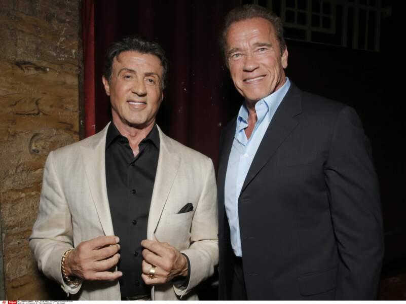 Avec son ami et ancien rival Arnold Schwarzenegger lors de l'avant-première de Expendables 3 (2014-)