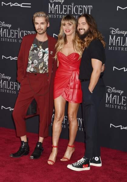 Heidi Kum entourée par les frères Bill et Tom Kaulitz