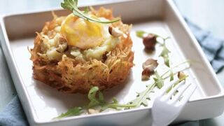 Nid de gwennie, œuf confit, noisette et vieux comté : une recette simple et originale de pomme de terre