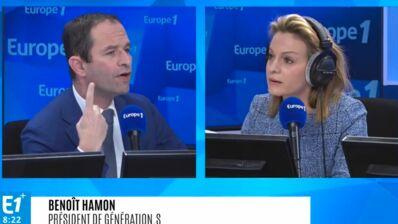 """La grosse colère de Benoît Hamon face aux questions d'Audrey Crespo-Mara : """"C'est une blague ou quoi ?"""" (VIDEO)"""
