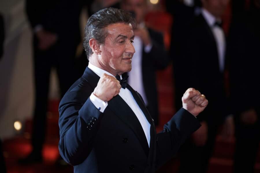Sylvester Stallone, arrivant à la projection de Rambo au Festival de Cannes 2019