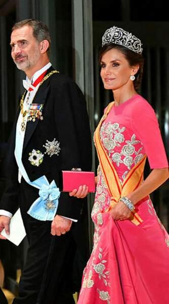 La reine Letizia d'Espagne au bras de son mari Felipe