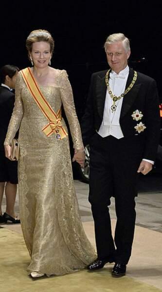 Les souverains belges à leur arrivée au banquet suivant la cérémonie