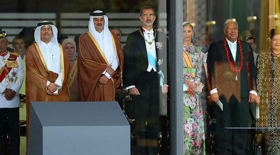 L'émir du Qatar Tamim bin Hamad Al Thani aux côtés du couple royal d'Espagne