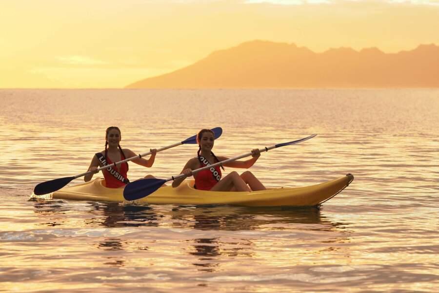 ou encore le kayak sur fond de coucher de soleil