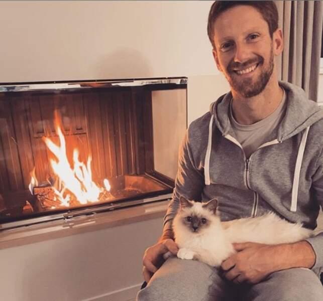 Les deux amours de Marion Jollès : Romain Grosjean et leur chat Petrus!