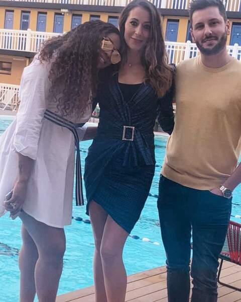 Avec Maxime Guény et Ludivine Retory, devant la piscine d'un célèbre hôtel parisien.
