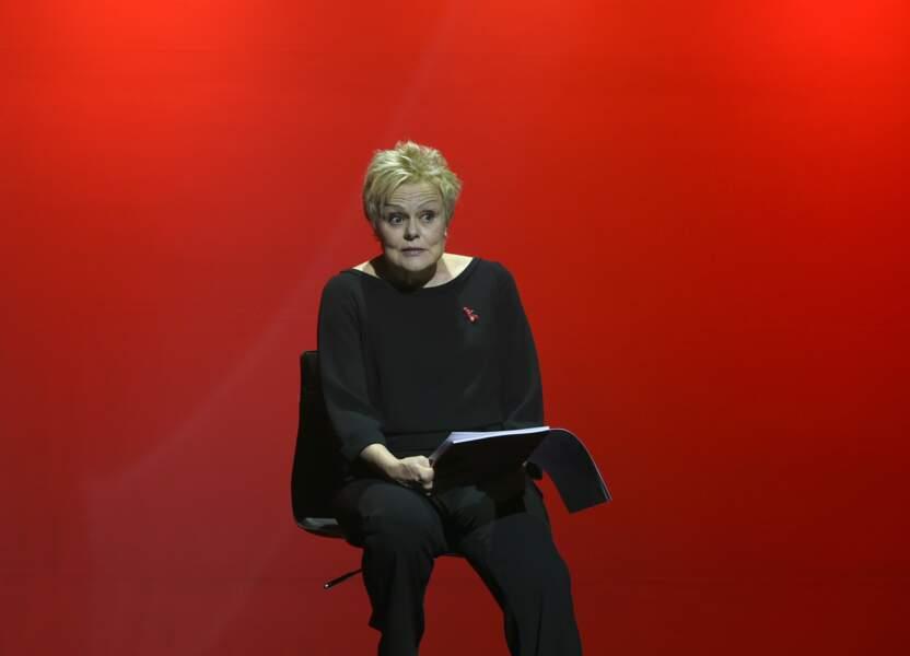 """Muriel Robin lors de la représentation de la pièce """"Les Monologues du Vagin"""" à Bobino , Paris 2018 ."""