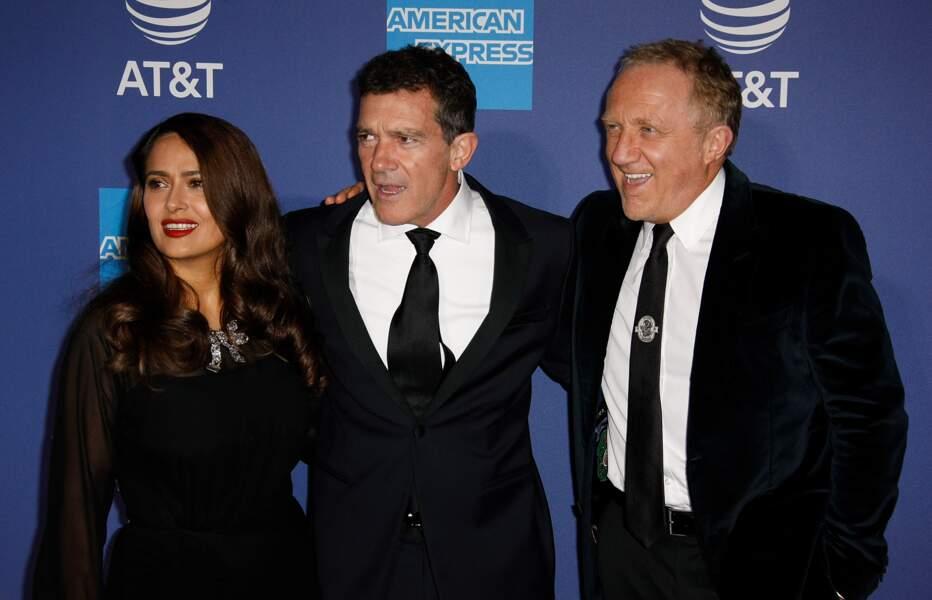 Salma Hayek, son mari Francois-Henri Pinault et son ami Antonio Banderas