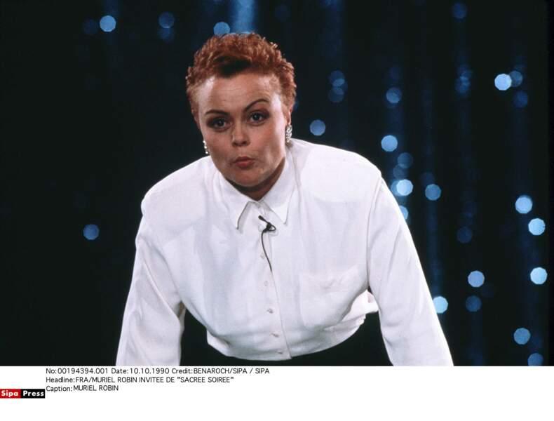 """1990, Muriel Robin encore rousse invitée de """"SACRÉE SOIRÉE """""""
