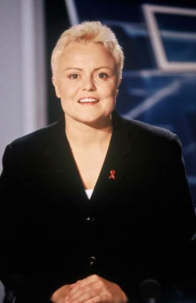 1996, Muriel Robin sur le plateau du JT de TF1