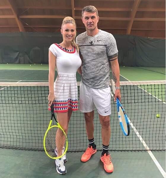 Diletta Leotta s'offre un court de tennis avec Paolo Maldini