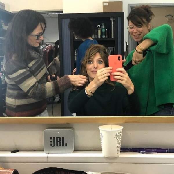Selfie dans la loge d'Elodie Varlet