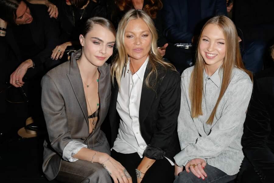 Cara Delevingne, Kate Moss et la fille de cette dernière, Lila Grace Moss Hack, au défilé Dior Homme
