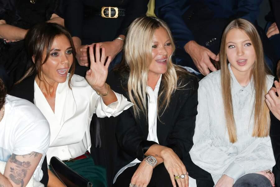 Victoria Beckham, Kate Moss et Lila Grace Moss au défilé Dior Homme