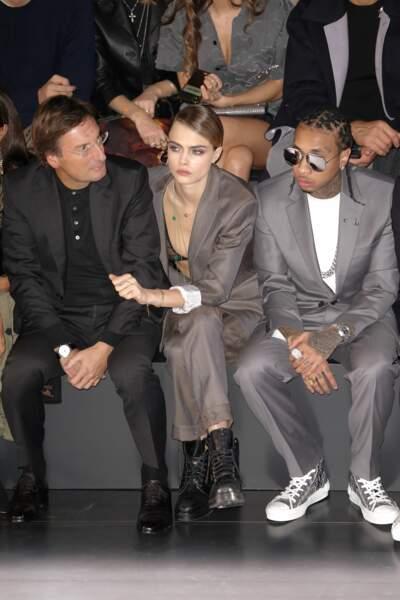 Pietro Beccari, Cara Delevingne et Tyga au défilé Dior Homme