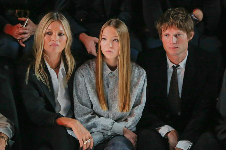 Sortie en famille pour Kate Moss au défilé Dior Homme, avec sa fille Lila Grace et son compagnon, le comte Nikolai Von Bismarck