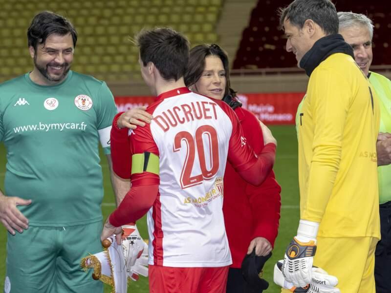 Louis Ducruet face au capitaine de l'équipe adverse, l'ex goal des Bleus et de l'Inter Sébastien Frey