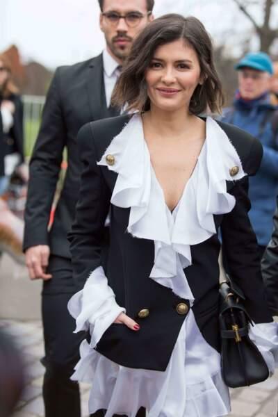 Audrey Tautou espère t-elle ouvrir un nouveau chapitre de la saga avec Romain Duris? Ici à la Fashion Week de 2020