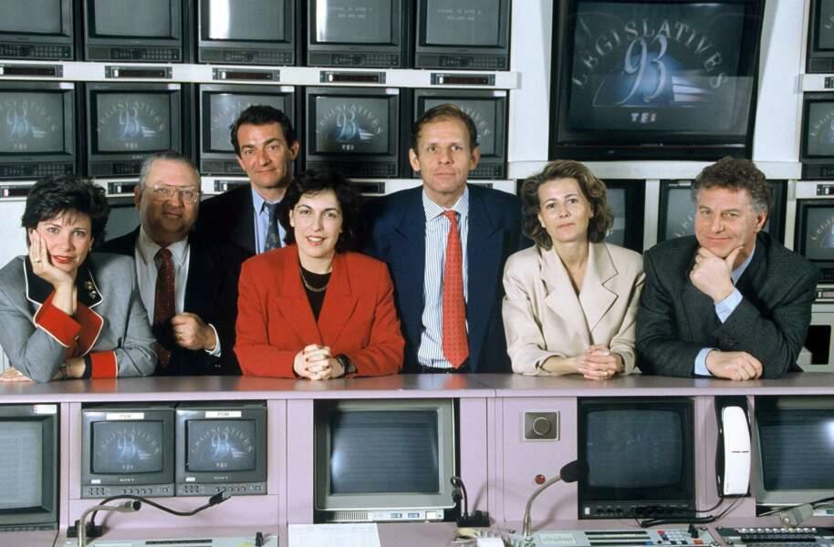 Les journalistes de TF1 sont prêts pour commenter les élections législatives de 1993