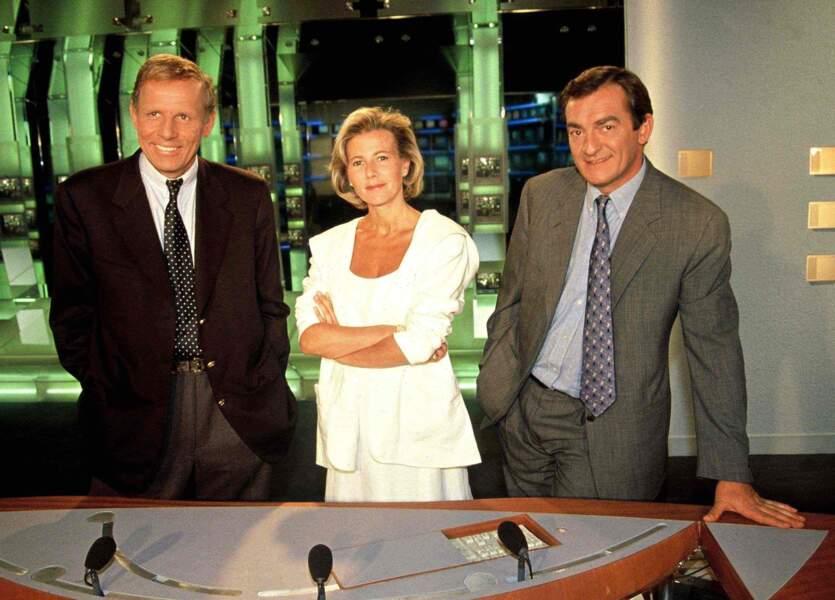 La dream team de l'info des années 90 façon TF1: Claire Chazal, Patrick Poivre d'Arvor, Jean-Pierre Pernaut. Ici en 1996.