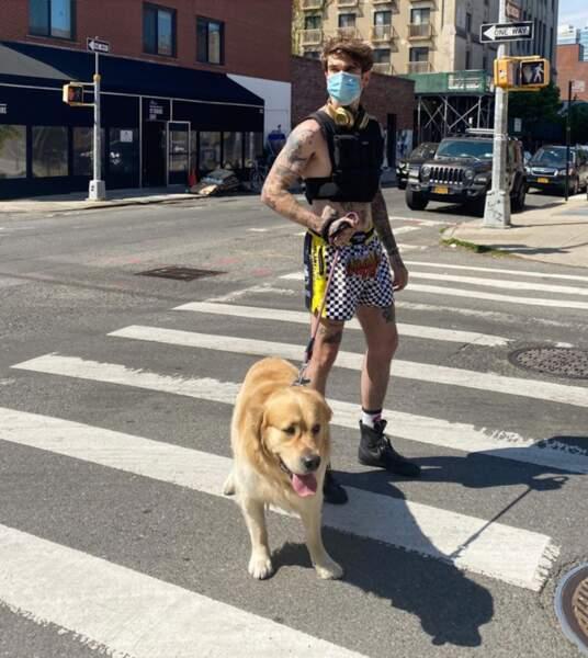 Gabriel-Kane Day-Lewis ultra-looké pour promener son chien