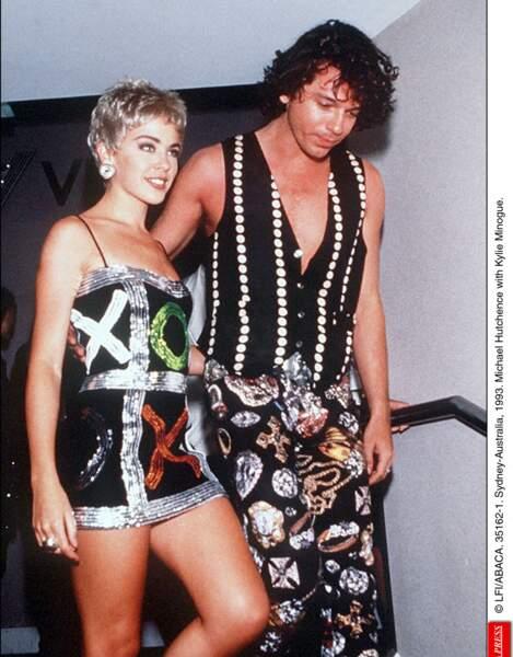 """Elle vivra pendant trois ans une relation passionnée avec le leader d'INXS, Michael Hutchence, qui écrira """"Suicide blonde"""" en référence à elle. Ici en 1993."""