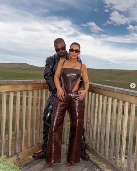 Kim Kardashian et Kanye West ont revisité le vestiaire western dans le Wyoming.