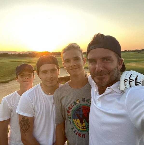 David Beckham et ses trois fils : Brooklyn, Romeo et Cruz.