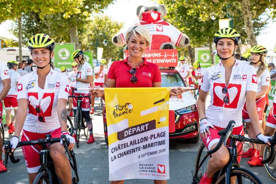 Les danseuses de DALS Inès Vandamme, Katrina Patchett et Candice Pascal étaient ravies de leur présence sur le Tour de France pour Mécénat Chirurgie Cardiaque.