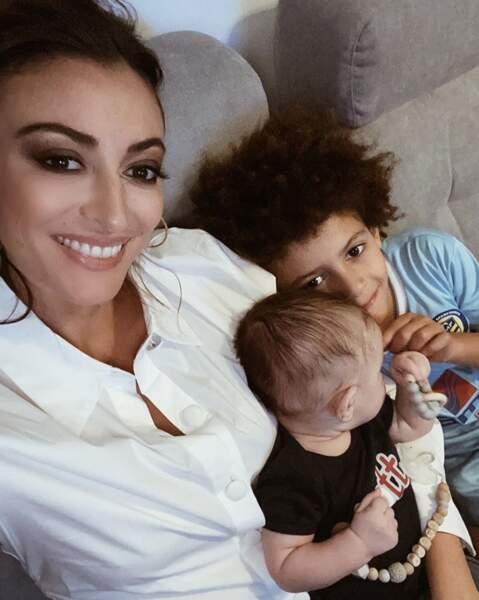 Selfie mère-fils pour Rachel Legrain-Trapani, Gianni et Andrea.
