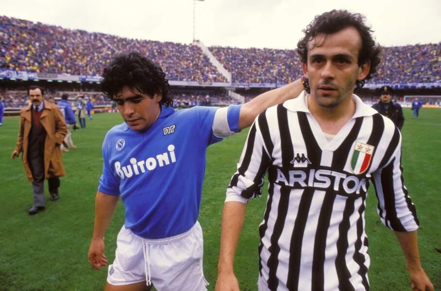 La rivalité Diego Maradona - Michel Platini, ici lors du match Naples -Juventus de mars 1987